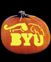 SpookMaster BYU Cougars College Football Team Pumpkin Carving Pattern