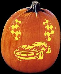 SPOOKMASTER RACE CAR PUMPKIN CARVING PATTERN