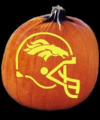 SPOOKMASTER NFL FOOTBALL DENVER BRONCOS HELMET PUMPKIN CARVING PATTERN