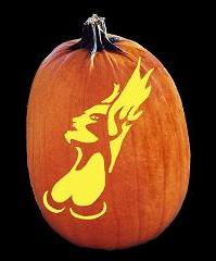 SPOOKMASTER DEMON GODDESS OF FIRE PUMPKIN CARVING PATTERN