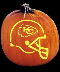 SPOOKMASTER NFL FOOTBALL KANSAS CITY CHIEFS HELMET PUMPKIN CARVING PATTERN