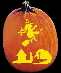 SPOOKMASTER WITCH RIDING BROOM PUMPKIN CARVING PATTERN
