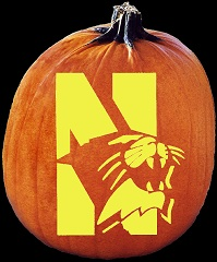 SpookMaster Northwestern Wildcats College Football Team Pumpkin Carving Pattern