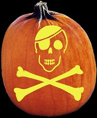 SPOOKMASTER SKULL AND CROSSBONES PIRATE PUMPKIN CARVING PATTERN